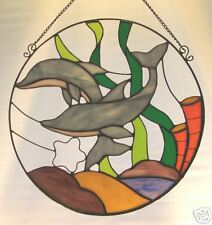 18 inch dophin stained glass sun catcher / panel