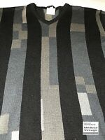 GIANNI VERSACE VINTAGE '98 100% WOOL SWEATER MEN V-NECK STRIPED KNIT ITALY BLACK