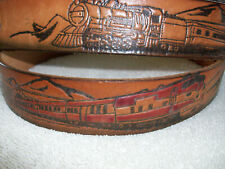 Leather Belt with Embossed Train Design