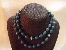 "33"" Aqua Uganda Paper Beads Necklace African"