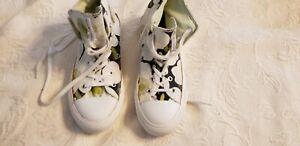 Converse Marimekko All Star Floral Black White Green Shoes USM 5/ USW 7 VGUC