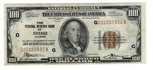 1929 $100 US National Currency FRB Chicago FR# 1890G C2990 G00055855A