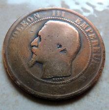France 10 centimes 1853 B Napoléon III bronze