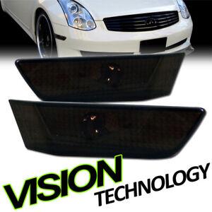 For 03-07 Infiniti G35 2D 2Dr Coupe Smoke Front Bumper Side Marker Light Lamp k2