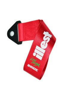 JDM High Strength Bride ILLEST Tow Strap for Front Rear Bumper Towing Hook-Red