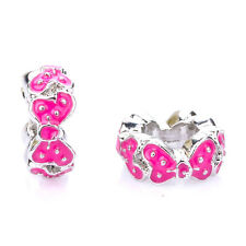 925 Silver Retro Dot Bowknot CZ Crystal Spacer Charm Bead Fit Bracelet Necklace