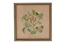 A charming framed needlework Strawberry plant Vintage