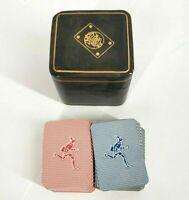 Vintage  Masenghini Bergamo Mini Playing Cards Leather Case Italy Pinocchio