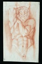Superb 17th. 18th. Century Old Master Drawing Italian Red Chalk Male Nude 1700s