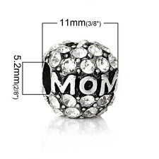 """Mother's Day """"Mom"""" Charm Bead Spacer for Snake Chain Charm Bracelets 2672"""