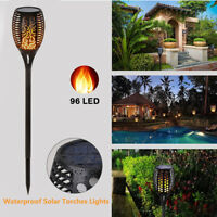 LED Solar Path Light Torch Flame Flickering Waterproof Outdoor Garden Pathway