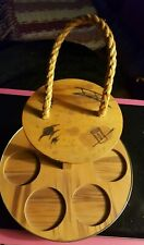 Vntg Siesta? Round Wooden Drink Glass Serving Tray Caddy Bamboo Rope Handle