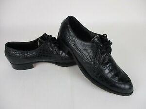 Edwin Clapp Vintage Black Alligator Crocodile Loafers Shoes size 11.5