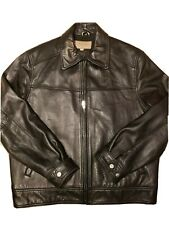 Mens Guess Soft Black Leather Jacket Size Large Coat Great Condition