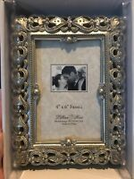 Jeweled Picture Frame - Silver Photo Holder 4 x 6