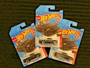 2020 Hot Wheels lot of 3 black '91 GMC SYCLONE new models 150/250 hot trucks