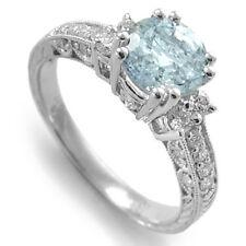 14k White Gold Genuine Fine AAA Aquamarine and Diamond Ring #R1130
