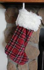 "Berkshire Red Tartan Plaid 20"" Plush Christmas Stocking White Faux Fur Cuff New"