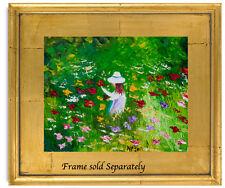 Natasha Petrosova   Original Oil Painting Impressionism Girl in a Garden 5748uyi