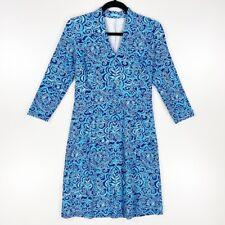J. McLaughlin Womens Shift Dress Blue Floral V Neck 3/4 Sleeves Stretch S