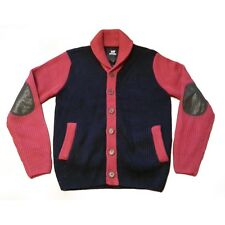 X-Ray Jeans Men Size M Cardigan Sweater Back Red With Patched Elbows