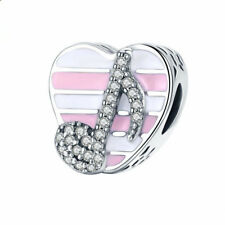 DIY 1pcs Silver heart European Charm Crystal Spacer Beads Fit Necklace Bracelet