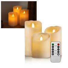 3er Set LED Kerzen Echtwachskerze bewegliche Flamme mit Fernbedienung für Aussen