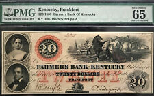 1859 Frankfort, KY-Farmers Bank of Kentucky $20 FULLY ISSUED PMG 65 GEM