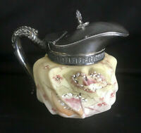 Wavecrest Creamer / Small Pitcher with Silverplate Handle and Lid Antique