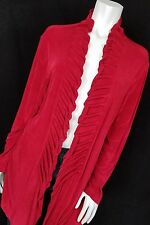 Chico's Travelers 3 Open Front Cardigan Sweater SLINKY Red Ruffles Pleated    WT
