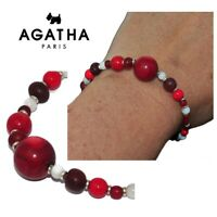AGATHA Bracelet élastique plaqué argent Corozo rouge verre nacré rouge bijou