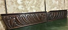 2 Acanthus leaf oves wood carving pediment Antique french architectural salvage