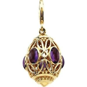 Amethyst Charm Pendant Whimsical Cage Type 14kt Solid Gold  Gorgeous!