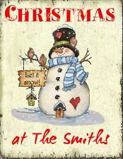Christmas Snowman Sign  Plaque Personalised Gift Handmade Shabby Vintage Chic
