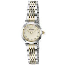 Bulova Women's Quartz Diamond Accents Champagne Dial Two Tone 25mm Watch 98P154