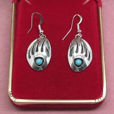 Sterling Silver & genuine Turquoise Bear Paw earrings traditional Navajo design