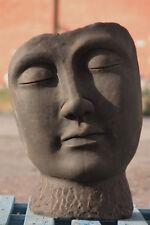 Büste Buddha Gesicht aus Steinguss patiniert Frostfest für den GARTEN NEU JA-024