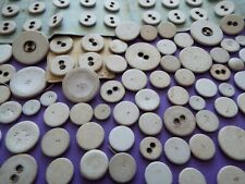 100 Vintage/antique linen covered buttons in a mix of sizes