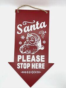 Santa Please Stop Here Arrow Christmas Sign Red - Wondershop Decor New