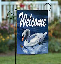 Toland Swan Welcome 12.5 x 18 White Swimming Bird Double Sided Garden Flag