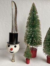 Vintage West German Mercury Glass Snowman Tree Topper With Aluminum Tassel Mica