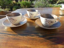 Vintage Poole Pottery Trudiana 3 x Cups and Saucers