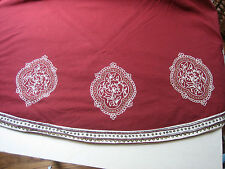 Round Hand Block Printed and Hand Embroidered Table Cloth Retail $167