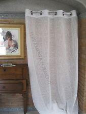 Tenda arredamento casa ricamata bianca, 1 telo con anelli, larga cm 140 x h 280