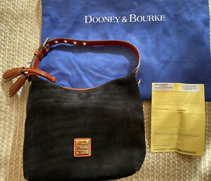 NWT Dooney & Bourke Suede PAIGE Crossbody Shoulder Leather Black HOBO $150 QVC