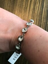 Guess Crystal Stud Adjustable Bracelet in Silver Brand New