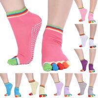 CW_ Women Antislip Yoga Cotton Socks Ankle Grip Durable Colorful 5 Toe Finger So