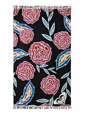 Roxy Logo Sunset Time Fringed Beach Towel Anthracite Mexican Roses MSRP $45