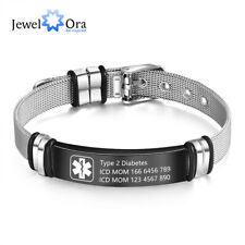 Personalized Mens Bracelet Emergency Medical Bangle Custom Alert ID Wristband