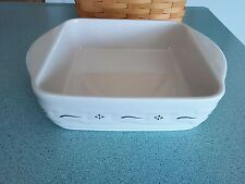 Longaberger Pottery 8 X 8 Baking dish New Design Heritage green NEW in box